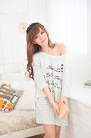 Free shipping Modal sleepwear female summer sleepwear cartoon short-sleeve lounge set pajamas for women