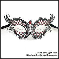 48pcs/lot Black Theme Halloween Mask Masquerade Mask Black Laser Cut Metal party Mask With Red Stones Venetian Mask MB004-RBK