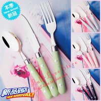 Beads stainless steel knife fork spoon piece set spoon fork western cutlery steak knife and fork twinset