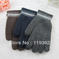 2013 New Arrive Free Shipping Women Men Screw Stripe Knitted WinterTthermal Gloves Classic Wool Finger Gloves