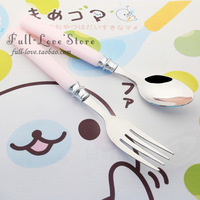 Japanese style stainless steel child spoon fork cartoon baby dinnerware set