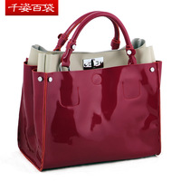 9 colours 2013 Hot sale! Guaranteed 100% Genuine Leather/Simple atmospheric leather handbag woman patent leather bags