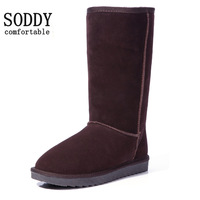 New arrival cowhide female snow  female cotton boots winter cow muscle slip-resistant outsole tall slip  warm shoes