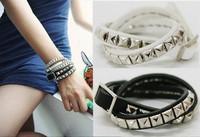 Minimum Order $20 (mixed order)  fashion squares rivet spiral leather bracelet