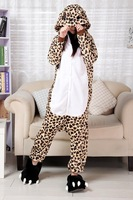 2013 Newest Coffee Leopard Simple Pajamas Sleep suit Sleepwear Footed Pyjamas Leopard Lovers Free shipping full flannel