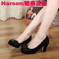 2013 HASSON genuine leather sheepskin elegant scrub round toe bow high-heeled platform thick heel single shoes