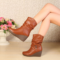 2013 her women's genuine leather shoes boots comfortable wedges medium-leg boots round toe high-heeled martin boots female boots