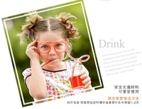 1pcs Party Hollywood Novelty items Amazing Silly multi-colors Glasses Drinking Straw Eyeglass Frames in Colors