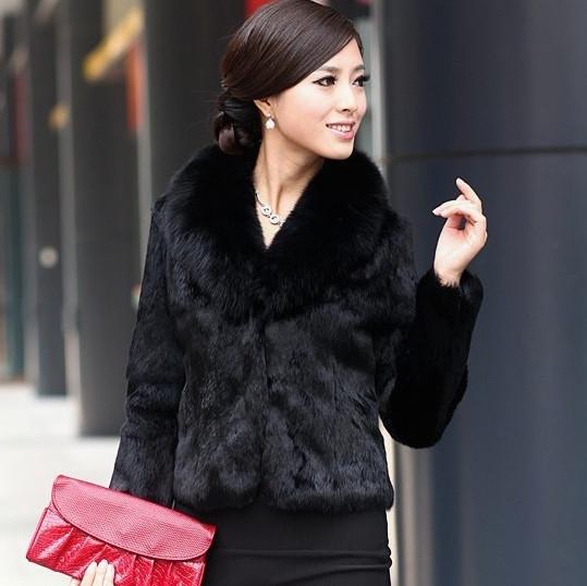 Free shipping women's fight mink fox fur short design mink fur coat leather overcoat(China (Mainland))