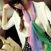 Autumn and winter scarf two-color female chiffon georgette scarf silk scarf color block decoration gradient color block silk