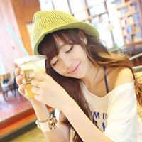 Breathable knitted yarn mesh sun-shading bucket hat flower pot hat female
