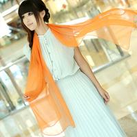 2013 spring solid color long design chiffon faux georgette silk scarf female elegant silk scarf