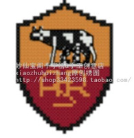 Free shipping  unfinished Cross Stitch kit   football badge team logo Serie A Roma mobile phone chain key chain S-108