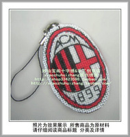 Free shipping  unfinished Cross Stitch kit  football badge team logo  mobile phone chain key chain Serie A AC Milan S-101
