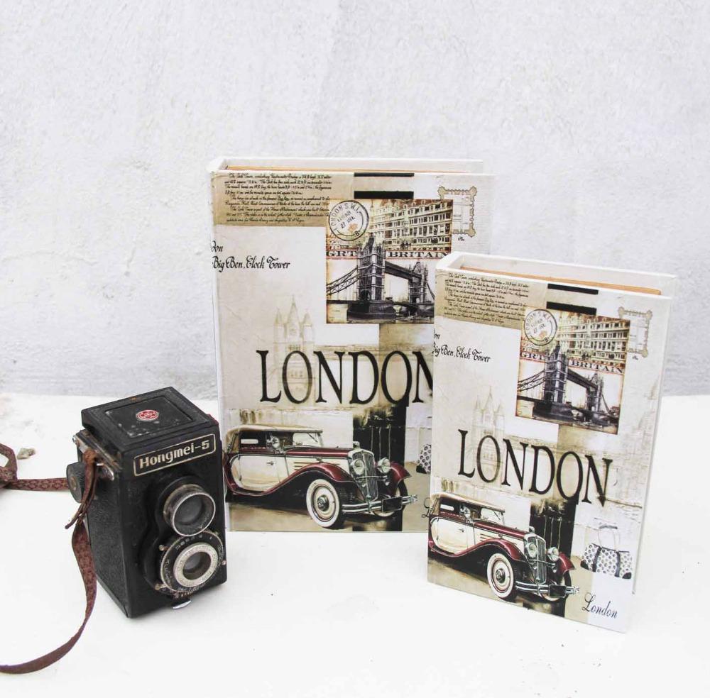 Retro style vintage book fake book Storage box home Decoration london car 1pcs(China (Mainland))