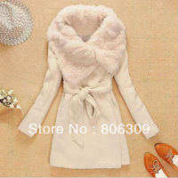 Fashion Women Faux Fur Trench Jacket Beige Warm Wool Cloak Outcoat Mid-Long Style  1690