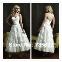2014 new Sweetheart  Elegant wedding dresses A Line Ivory  Organza Flower Applique Anke length wedding gowns A277