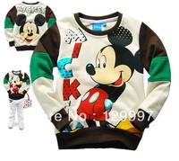 HOT!! Retail Spring Autumn  Boys kids  Mickey cartoon printed cotton o-neck long-sleeved fleece coat kids clothes