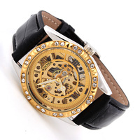 1pcs 2014 Men Luxury brand Watch Winner Skeleton Watches Crystal Golden Dial Wristwatches Leather Strap Dress watch