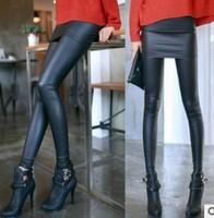 2013 fashion style  woman fake leather sexy leggings/false two pcs pantskirt/ninth pants /backing trousers free shipping