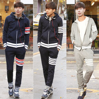 2014 2013 men's autumn and winter clothing casual sports suits with a hood slim male sweatshirt set male thin sportswear