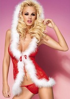 2013 New Fuzzy Hooded Babydoll with Sleeveless Hooded G-string Christmas Costume Red HD12111522