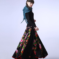 FREE SHIPPING Original design trend women's national spring and autumn bohemia half-length skirt bottom long expansion