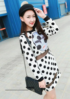 2013 autumn sweet dot print perspective gauze patchwork slim all-match one-piece dress