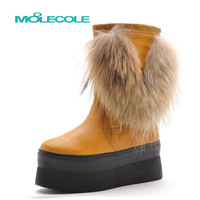 Moolecole 2013 winter snow boots platform high-heeled boots rabbit fur tassel