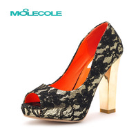 free shoping Open toe sandals serpentine pattern summer lace sexy shoes thick heel high-heeled shoes platform women's shoes