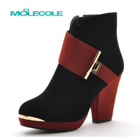 2013 boots all-match boots high thick heel boots autumn and winter fashion thermal fashion boots