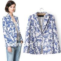 Size XS-XXL Ceramics Blue and white porcelain ceramic printing leisure suit jacket blouses Free shipping