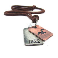 New couro hot genuine leather retro vintage dove sweater chain necklace men's women 'fashion jewelry  colar choker 1 pcs /lot