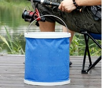 Outdoor Camping Fishing Folding Collapsible Bucket Barrel 11L Car Wash Bucket Blue Free Drop Shipping