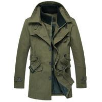 Trench Fashion High quality Slim Faux two piece Medium-long Green Men's.Free shipping Brand fashion New 2014
