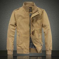 Men's jacket Stand collar coats Plus size Khaki Army green Cotton Korean style Free shipping Brand fashion