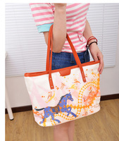 Print colored drawing female handbag fashion shoulder bag