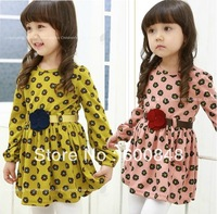 2013 NEW girls autumn dress with belt clothes children kids wear cotton 2colors YTP-22
