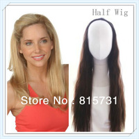 Custom Color Long Straight  Human Hair Half Wig
