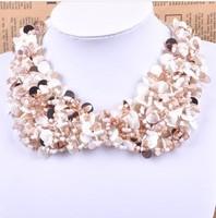 Min order is 10usd ! 100% Handmade Fahion Fabric shell collar Bohemia  candy choker neckalce ! free shipping!