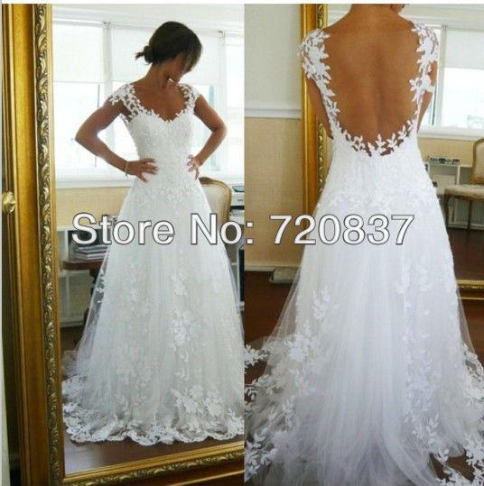 بيضاء اللون تصميم مثير أ-- خط قطار المحكمة عارية الذراعين الدانتيل فساتين الزفاف فساتين الزفاف الرسمي للمرأة حسب المقاس