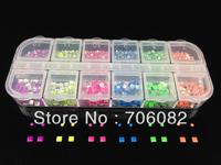 2000pcs/box Mix Color 3D Neon Stud Rhinestone Fushion Alloy Nail Art DIY Decoration Stamping 2+3*3
