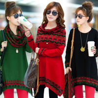2014 Autumn Winter Fashion Loose Women'S Wool Plus Size Sweater One-Piece Dress Long-Sleeve