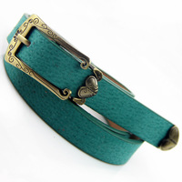 Vintage carved thin belt female heart bronze buckle pigskin thin section strap women's decoration belt