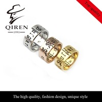 fashion luxury BVL brand ring steel with hollow out letters girl women ring QR-191