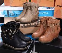 Fashion Women Punk Rivet  Elevator Rivets Skull Boots Wedge Elevator Sneaker For Lady Free Shipping