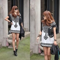 Hot Sale Women Summer Butterfly Sleeve Tees New Vintage Printed T shirt Tops White  1243