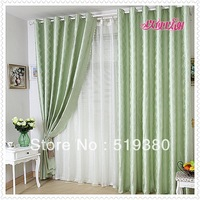 free shipping,1.9m*2.5m green grid jacquard curtain,finished balcony curtain,bedroom curtain,custom-made curtain