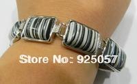 "13x18mm Black White Turquoise Rectangle Bracelet 8"" Fashion jewelry"