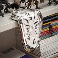New Retro Distorted Clock Right Angle Wall Clock Melting Time Seated Clock  novelty products